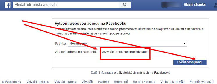 URL facebookové stránky